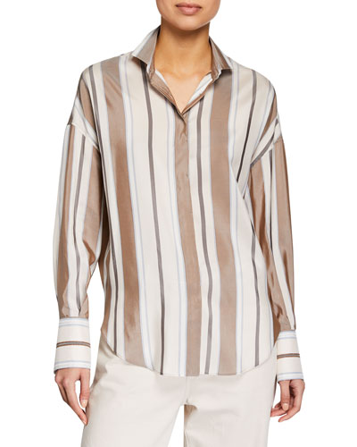 Long-Sleeve Striped Silk Collared Blouse