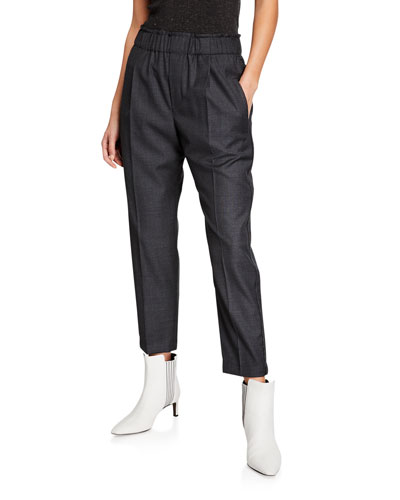 Wool Twill Tuxedo Pants