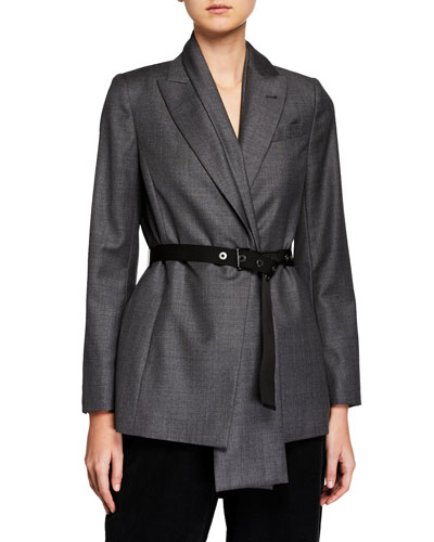 Shawl-Collar One-Button Belted Jacket