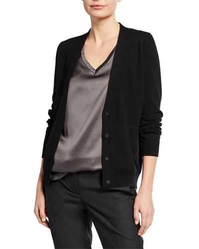 V-Neck Button-Front Basic Cashmere Cardigan