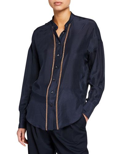 Monili-Striped Charmeuse Button-Front Shirt