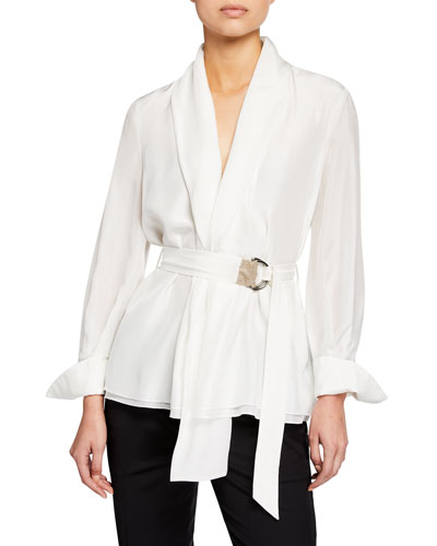Long-Sleeve Monili-Belted Georgette Blouse
