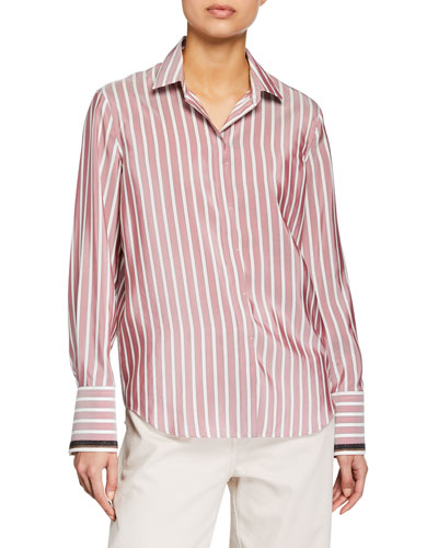 Monili-Cuff Striped Blouse