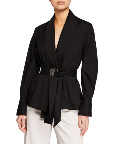 Long-Sleeve Monili-Belted Poplin Blouse