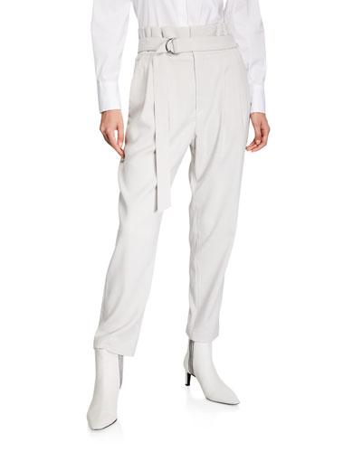 Monili-Beaded Paperbag-Waist Straight-Leg Trousers