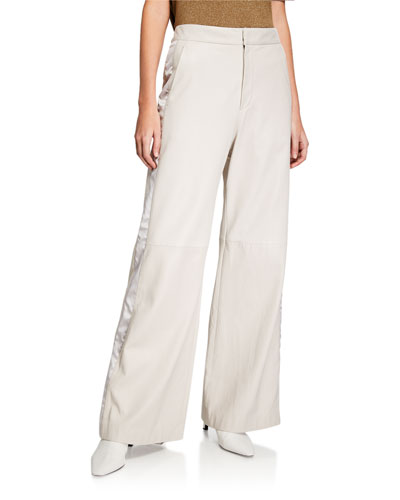 Wide-Leg Tuxedo-Striped Leather Pants
