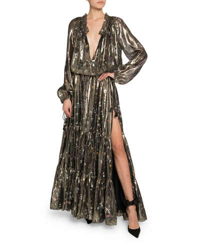Shimmer Long-Sleeve V-Neck Dress