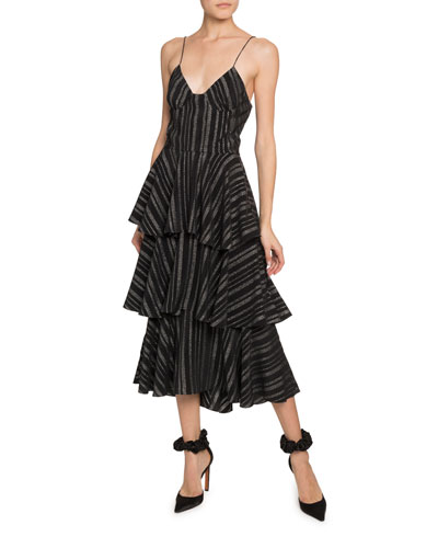 V-Neck Tiered-Ruffle Strappy Dress