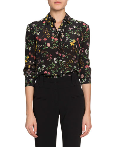 Floral Print Long-Sleeve Button-Front Blouse