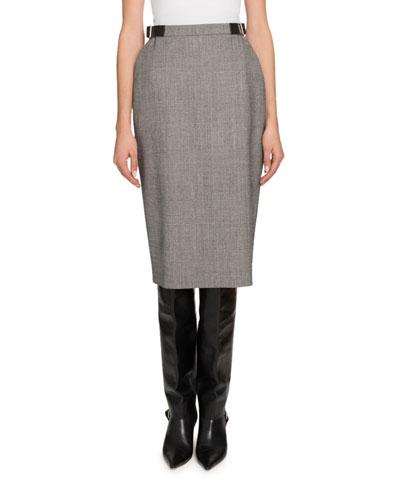 Buckled-Waist Plaid Crepe Skirt