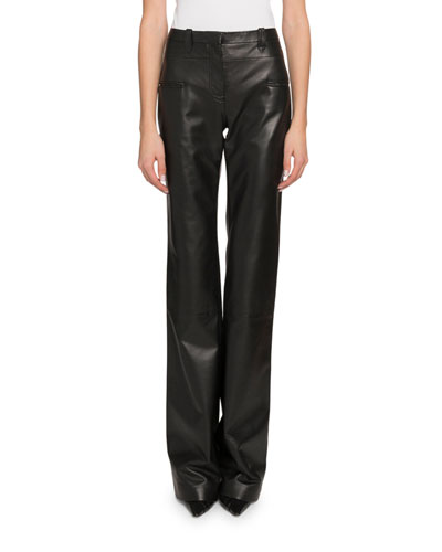 High-Waist Flare-Leg Leather Pants