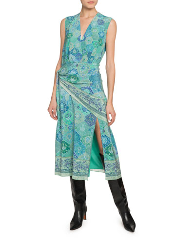 Gathered Bandana Print Silk Midi Dress