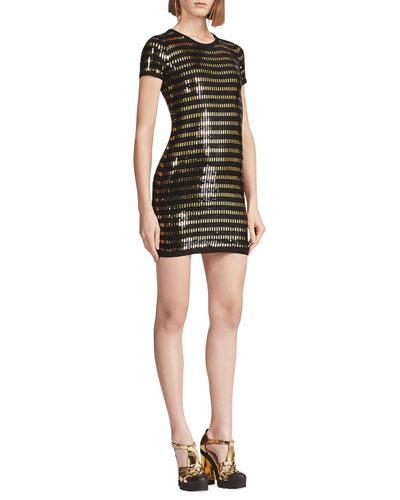 Sequined Short-Sleeve Wool Sweater Dress