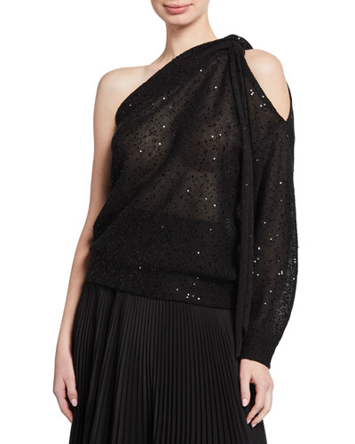 Sequined One-Shoulder Sweater