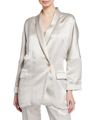 Textured Satin Double-Breasted Blazer