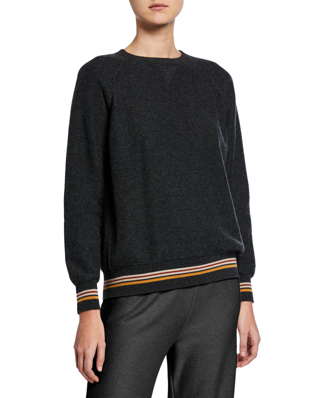 Loro Piana Sweaters CASHMERE CREWNECK SUITCASE-STRIPED SWEATER