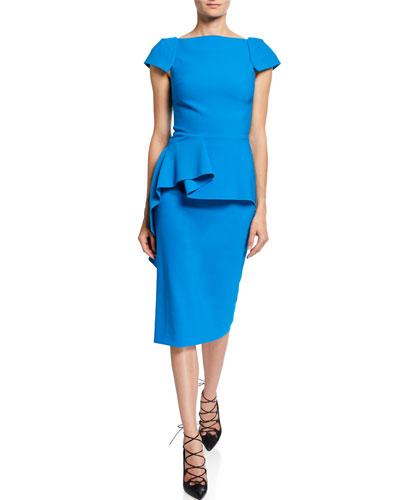 Cap-Sleeve Draped Peplum-Waist Dress