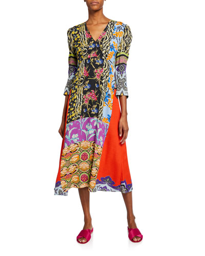Animal Print & Floral Collage Patchwork Dress