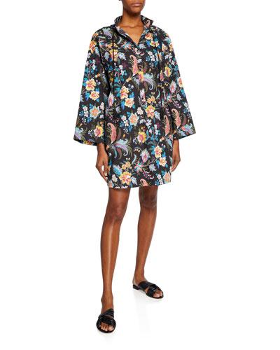 Fern Floral Cotton Jewel-Button Dress