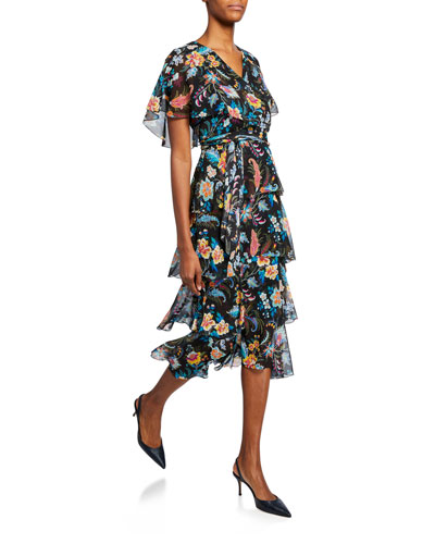 Fern Floral Tiered Ruffle Dress