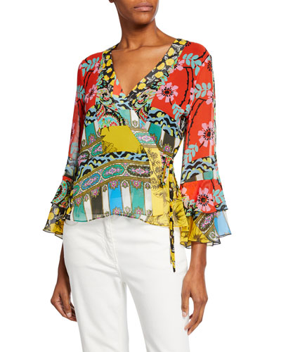 Paisley Collage Chiffon Wrap Blouse