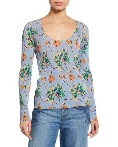 Ribbed Floral V-Neck Sweater
