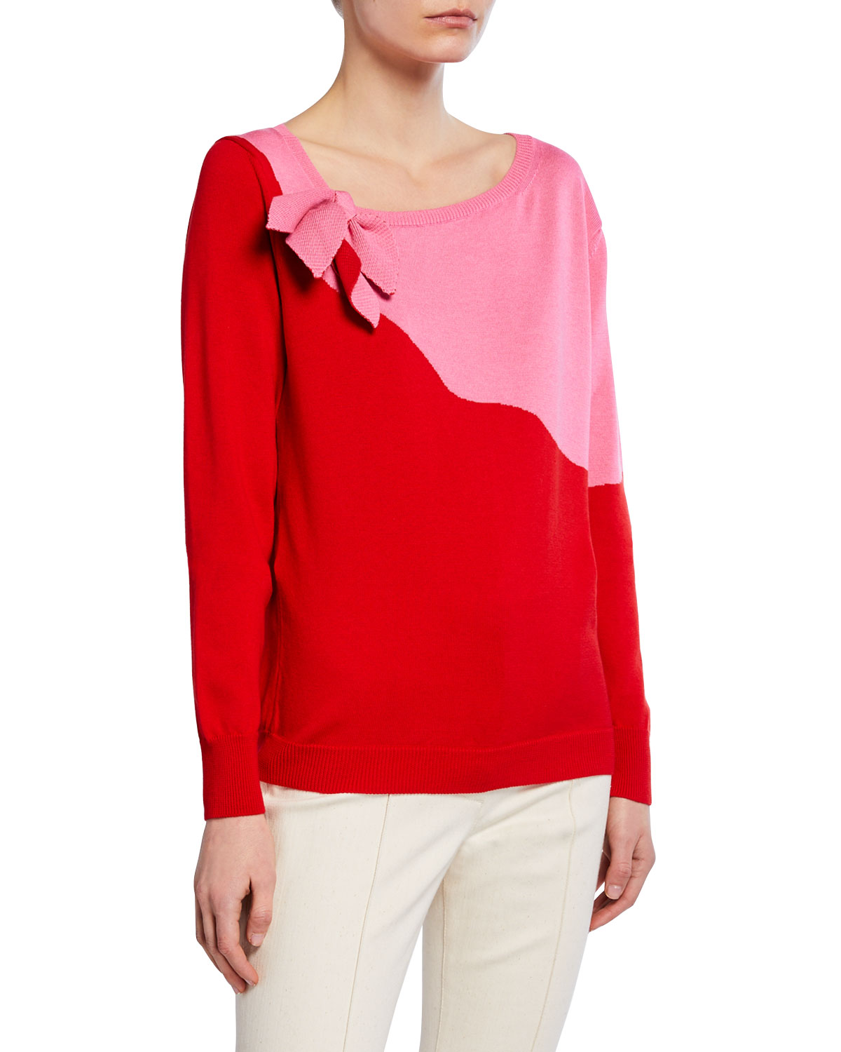Delpozo Sweaters BOW-NECK TWO-TONE SWEATER
