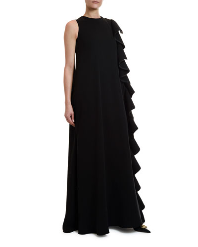Cady Couture Side Ruffle Gown