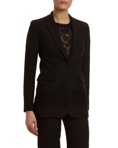 Crepe Couture Lace Overlay Blazer
