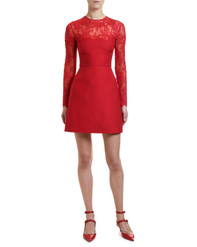bb8130659a6 Scalloped Lace Inset Cocktail Dress