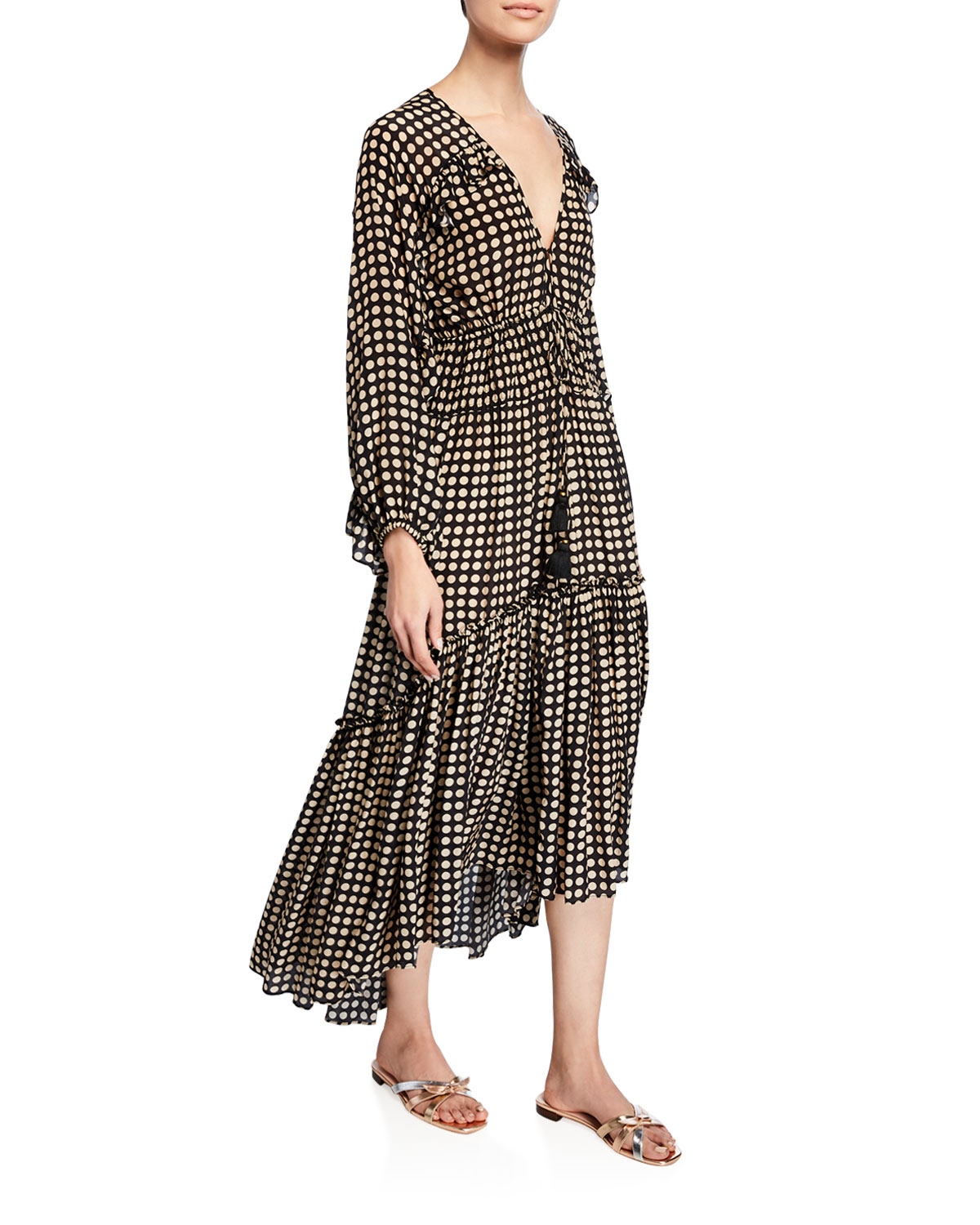 Figue Dresses ALESSIA MOON-DOTTED LONG-SLEEVE DRESS