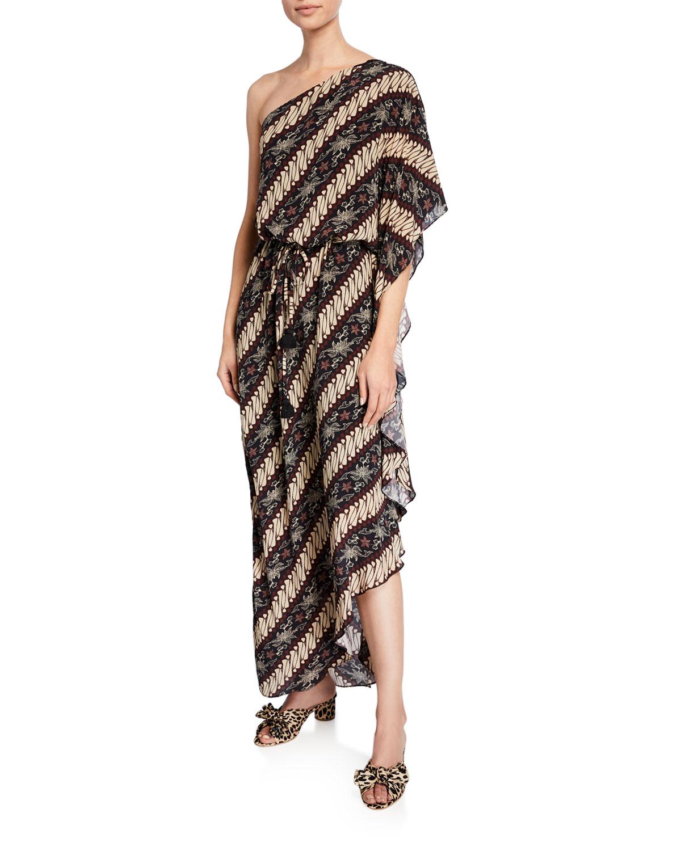 Figue Dresses MAISIE ONE-SHOULDER DIAGONAL-STRIPED DRESS