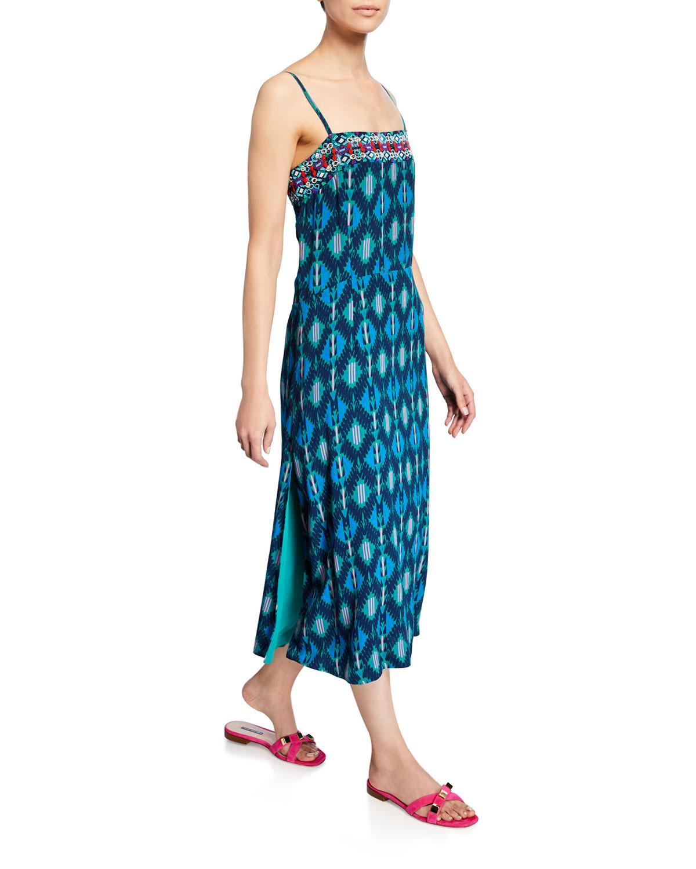Figue Dresses OLATZ IZNIK IKAT-PRINT LONG CAMI DRESS