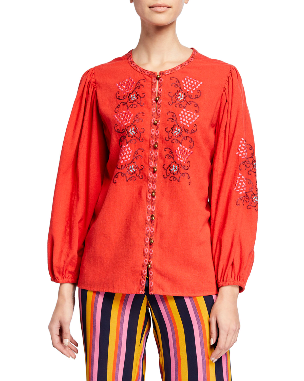 Figue Tops KIERA FLORAL EMBROIDERED TUNIC
