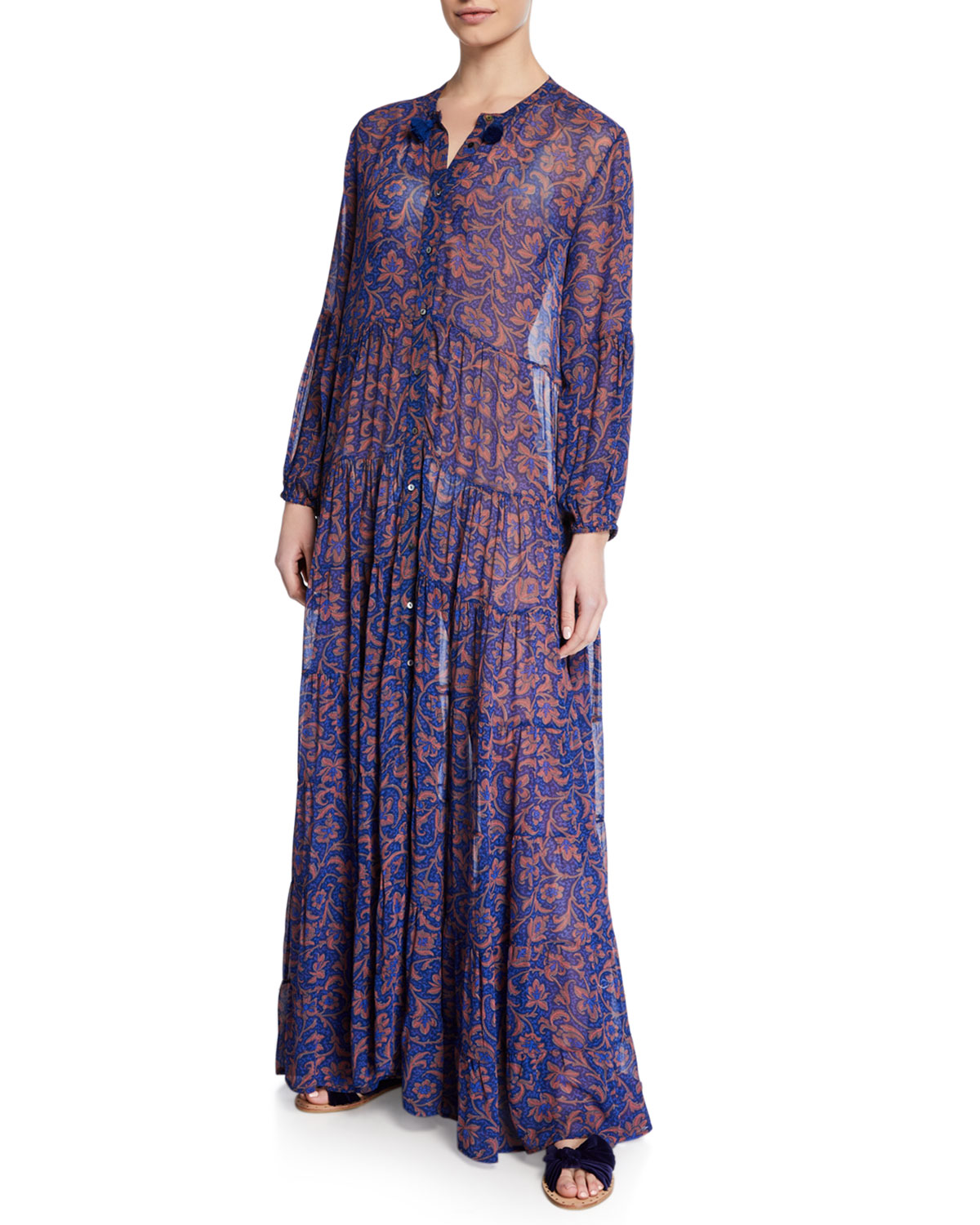 Figue Dresses SHAMBALA FLORAL CHIFFON MAXI SHIRTDRESS