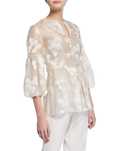 Full-Sleeve Button-Front Embroidered Top