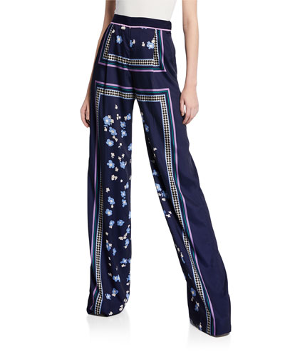 High-Waist Floral Print Satin Pants