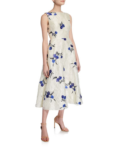 Floral Jacquard Boat-Neck Full Skirt Dress
