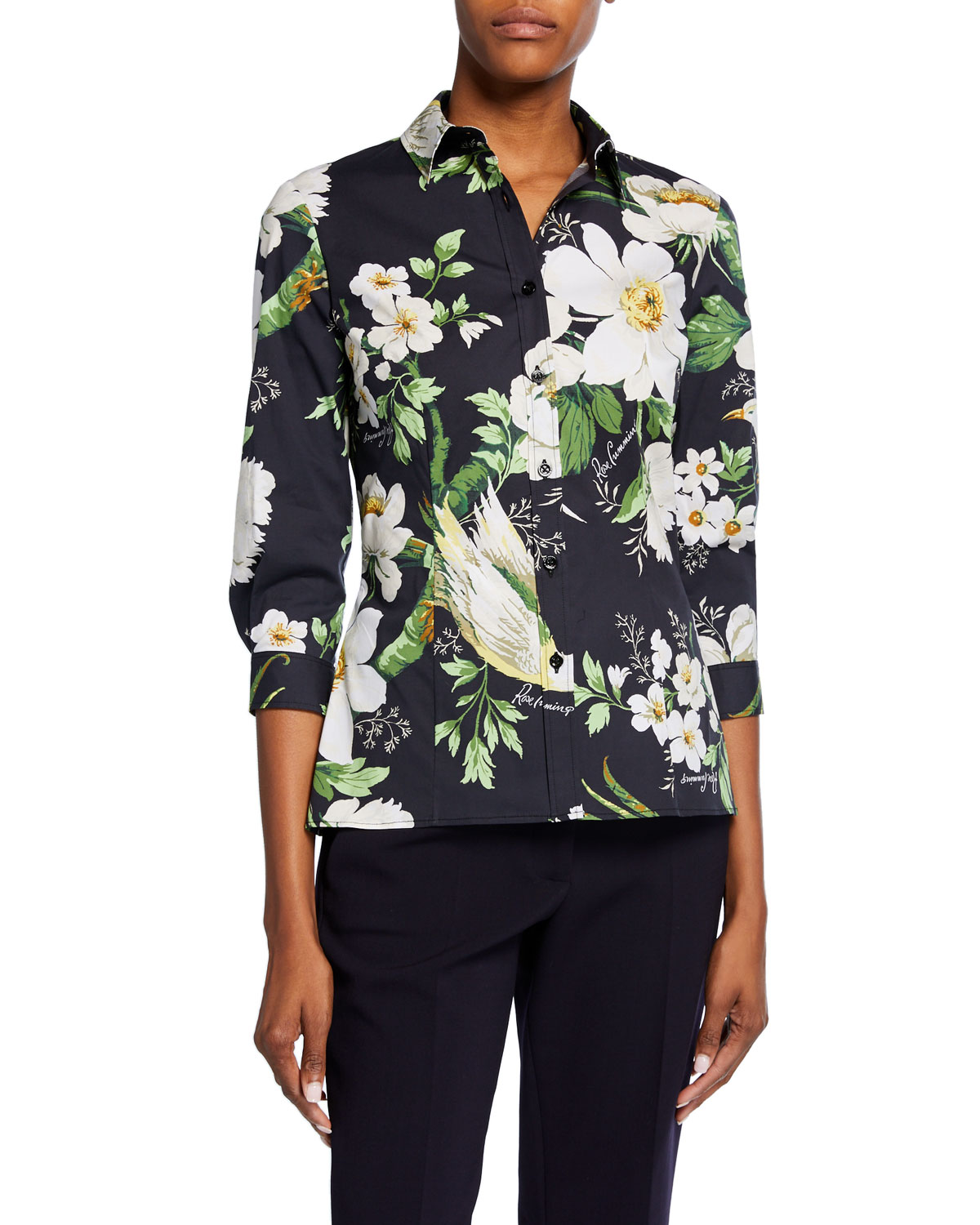 Carolina Herrera T-shirts MIDNIGHT FLORAL-PRINT 3/4-SLEEVE SHIRT