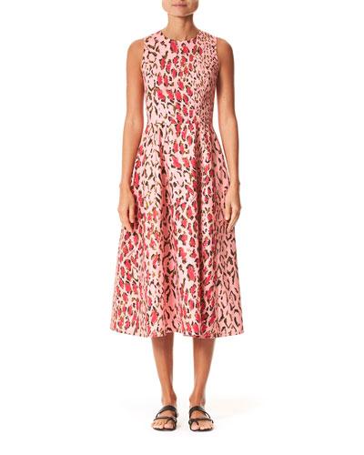Leopard-Print Poplin Midi Dress