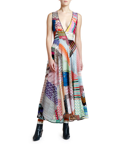 Sleeveless V-Neck Patchwork Dress