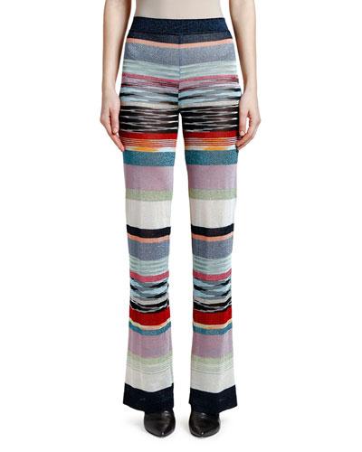 Shimmer-Striped Wide-Leg Pants