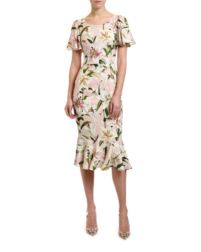 Lily Print Flutter Sleeve Bodycon Dress