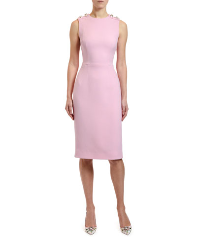 Wool Crepe Sleeveless Button-Shoulder Dress