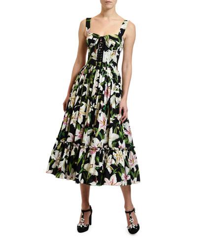 Lily Print Corset Midi Dress