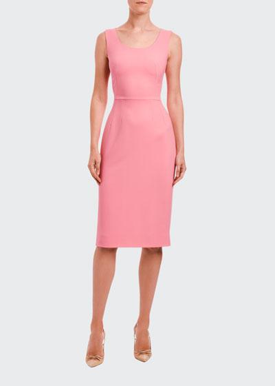 Stretch-Cady Sheath Dress
