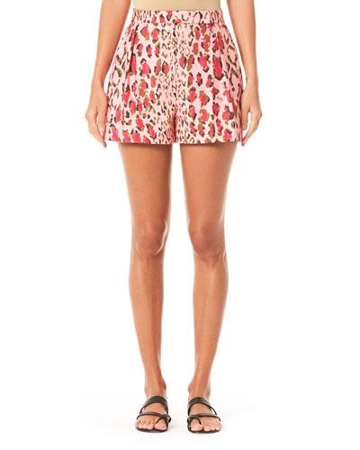 Leopard-Pattern Pleated Cotton Shorts