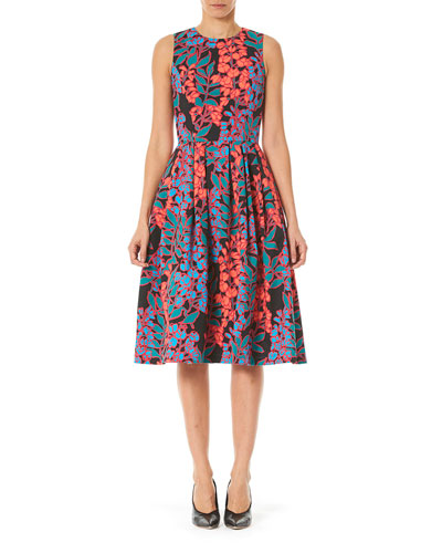 Floral Box-Pleated Fit-&-Flare Midi Dress