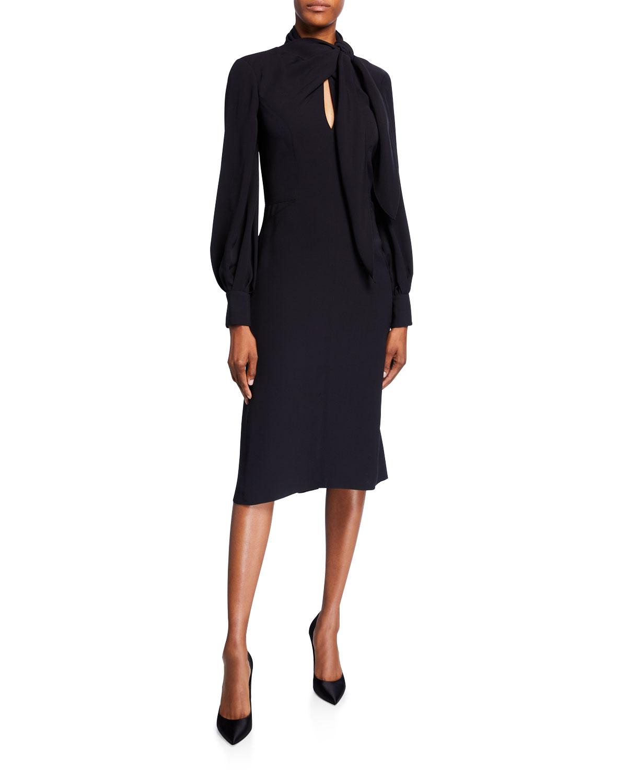 Carolina Herrera Dresses BOW-NECK PUFF-SLEEVE SILK DRESS