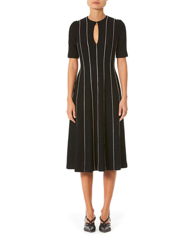 Short-Sleeve Keyhole A-Line Dress